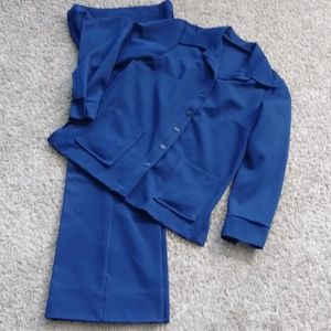 Vintage Navy Blue 2pc Suit Jacket & Pants 1970s